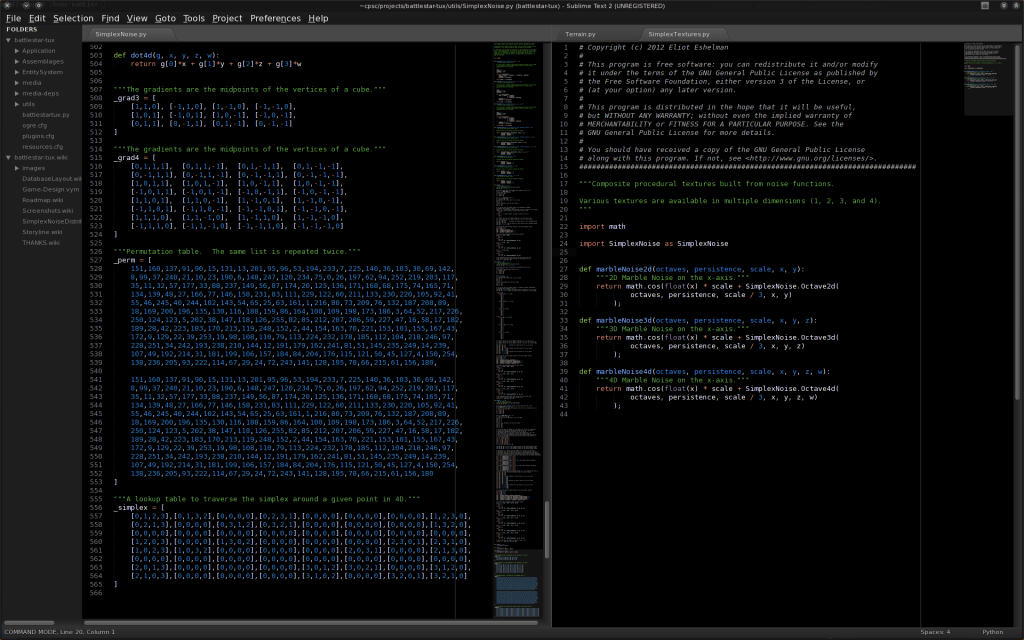 Screenshot of Sublime text editor