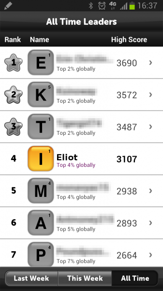 Eliot Eshelman Top 10% of Scramble Word Game