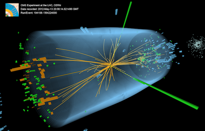 Candidate Higgs boson event in CERN CMS detector